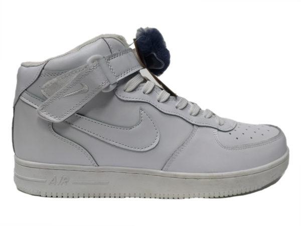 Зимние Nike Air Force 1 Low Leather Fur белые мужские и женские