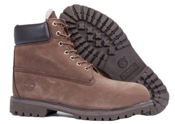 Ботинки Timberland Classic нубук темно-коричневые (без меха) 36-46