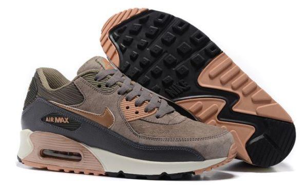 Nike Air Max 90 замша коричневый с серым (35-44)