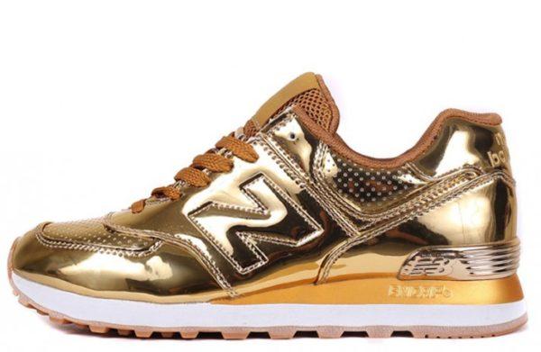 Золотые кроссовки New Balance