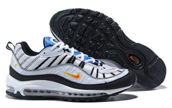 Nike Air Max 98 белые с синим и черным (40-44)